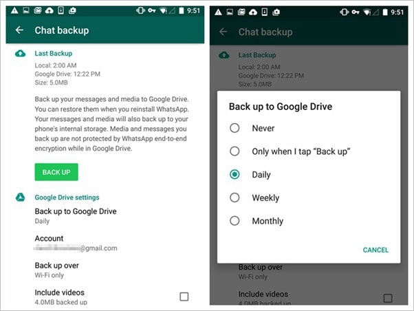 How to Enable the Google Drive Automatic Backup for Whatsapp